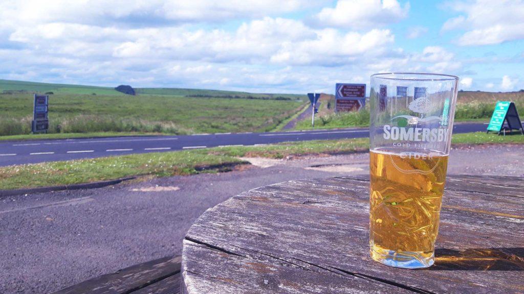 Enjoying a refreshing English cider
