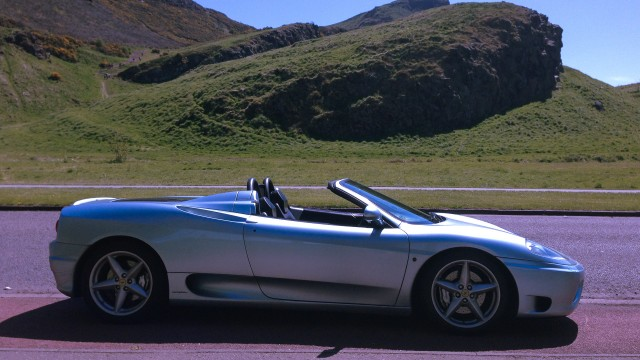 See Scotland differently, in style in a sleek, silver Ferrari Spider