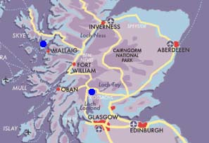 Map Classic Scottish honeymoon