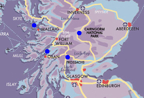 Map Journey through Highlands