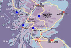 Map Journey through Highlands