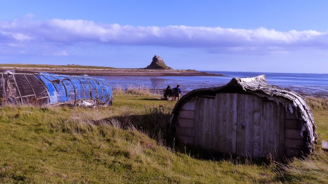 Lindisfarne Castle and fisherman's hut