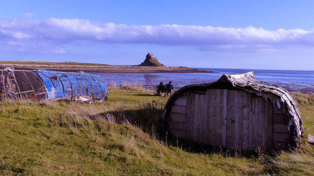 Lindisfarne Castle and fisherman's hut
