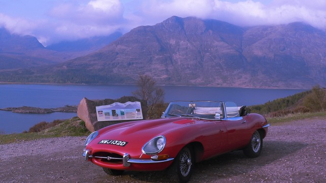 E-type Jaguar at Loch Torridon