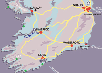 Map Cork to Connemara Wild Atlantic Way