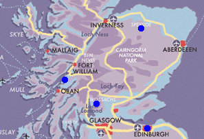 Map Edinburgh-&-Highlands
