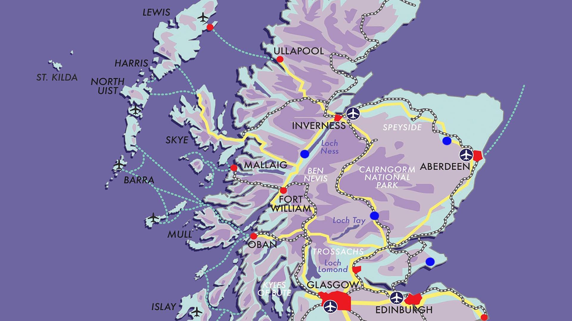 Castles, Glens & Whisky map