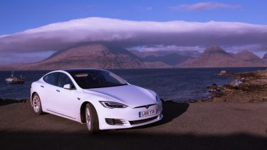 Whitecar Tesla on the Isle of Skye