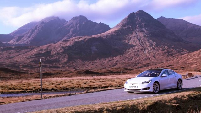 Whitecar Tesla in the Highlands