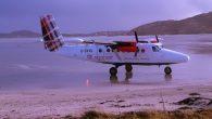Loganair plane at Barra Airport
