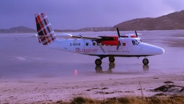 Loganair plane at Barra Airport