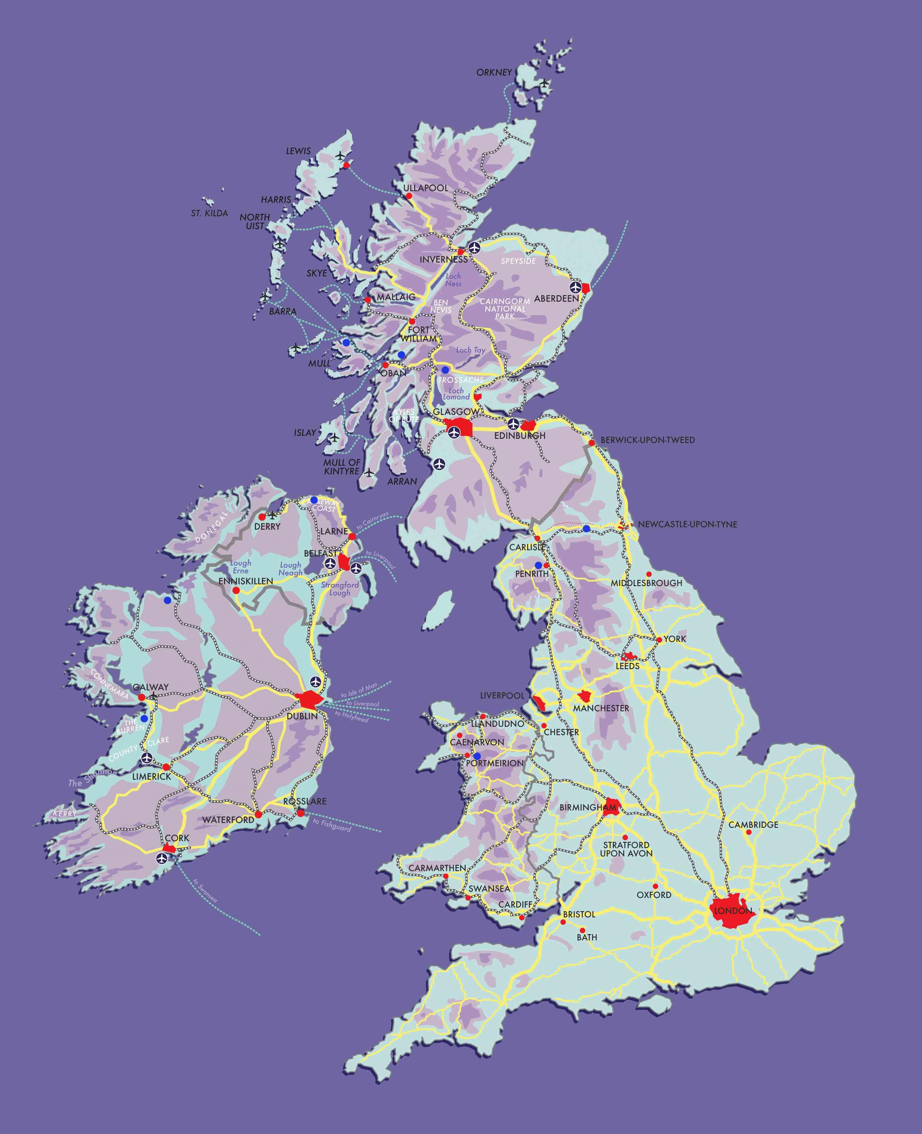 Scotland, England, Ireland, Wales